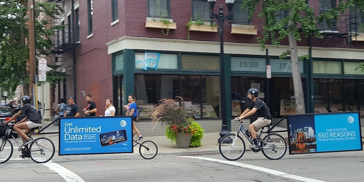 AT&T Bicycle Billboard Advertising Company Example - Cincinnati, OH
