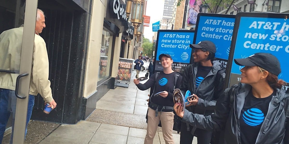 AT&T Human Walking Billboard Street Team Marketing - Center City, Philadelphia