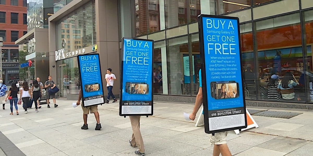AT&T Walking Billboards Outdoor Advertising Team - Back Bay Boston