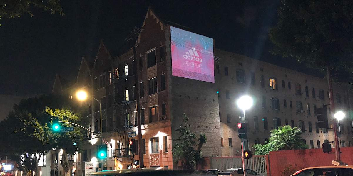 Adidas Projection Mapping Outdoor Advertising Event Promotion Billboard - Los Angeles