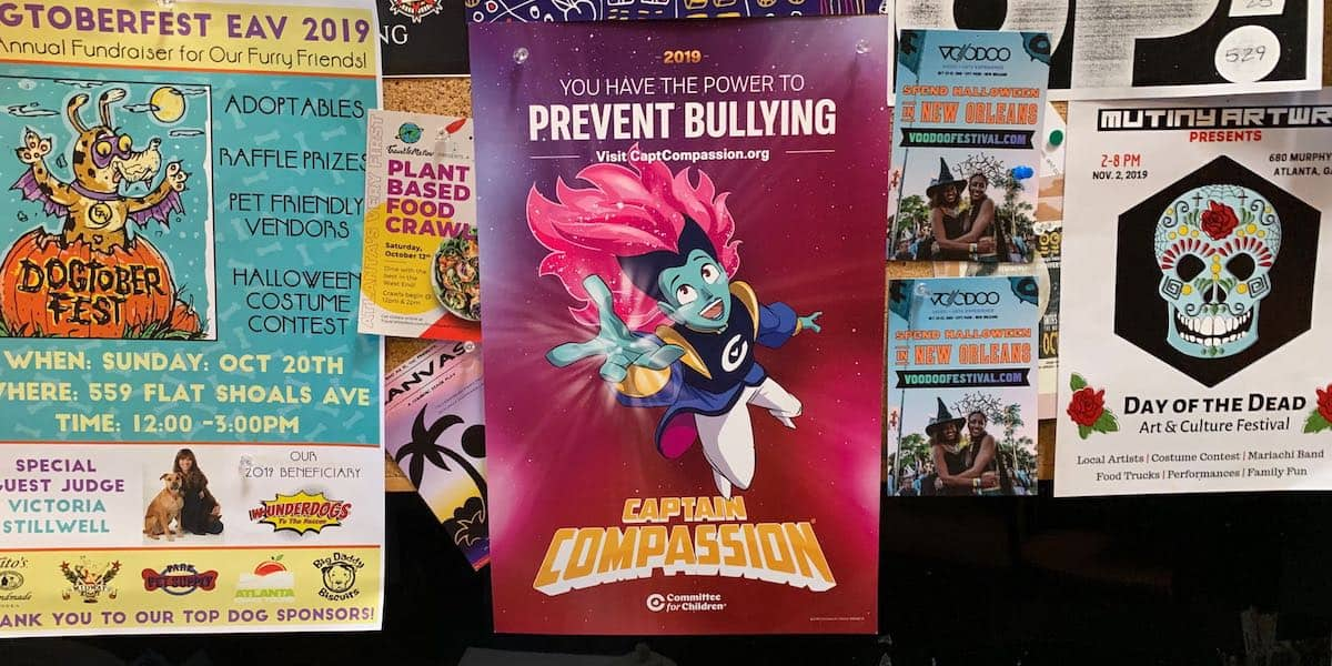 Anti-Bullying Nonprofit Cafe Bulletin Board Poster Advertising - Little Five Points, Atlanta