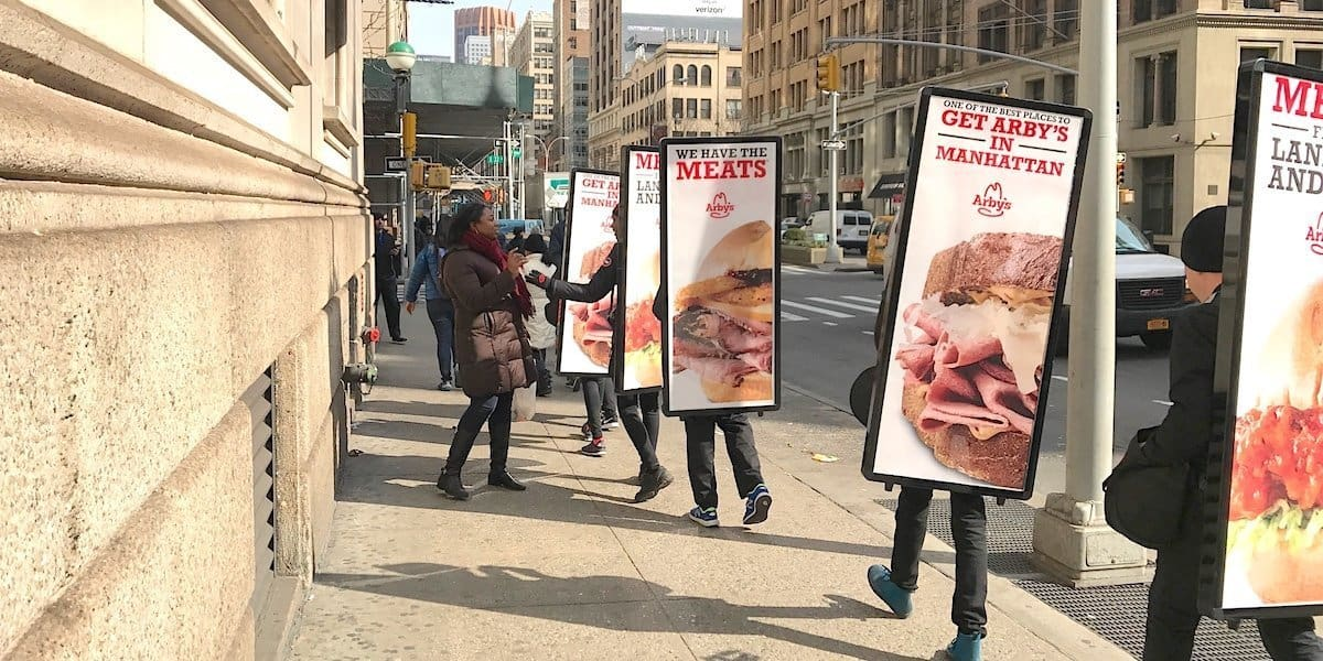 Arby's Restaurant Store Opening Marketing Human Billboard Street Team - NoMad, New York City