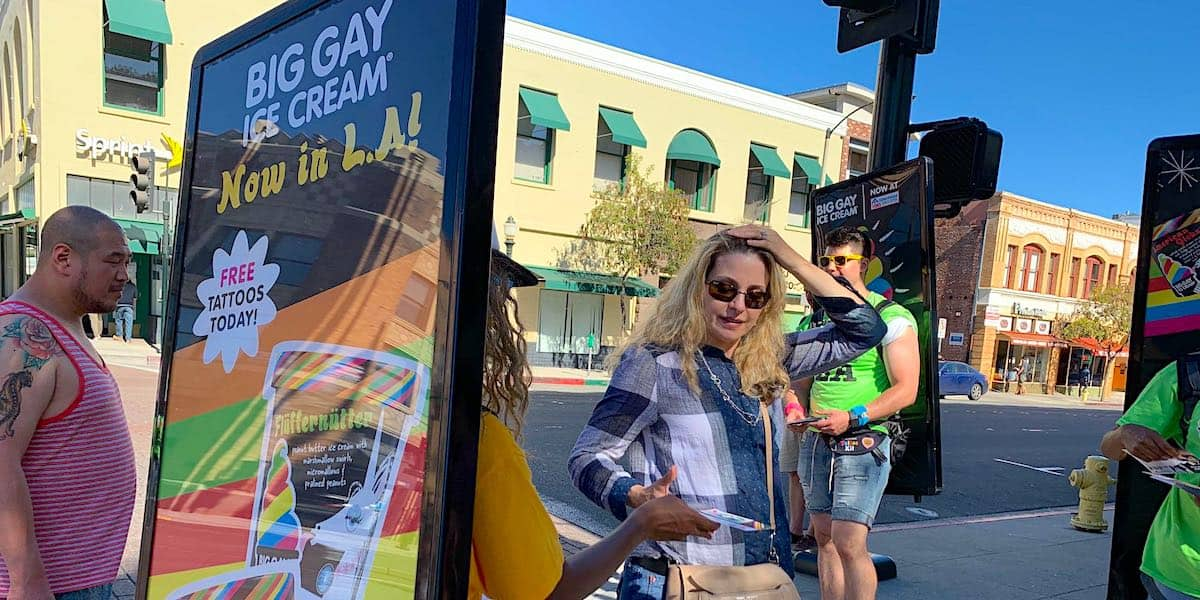 Big Gay Ice Cream Human Billboard Advertising Company Example - Pasadena, Los Angeles, CA