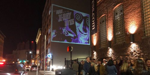 Boston Guerilla Building Projection Advertising - Seaport District