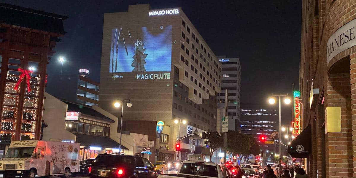 Building Wall Light Projection Advertising for Event Promotion - Downtown, Los Angeles, CA
