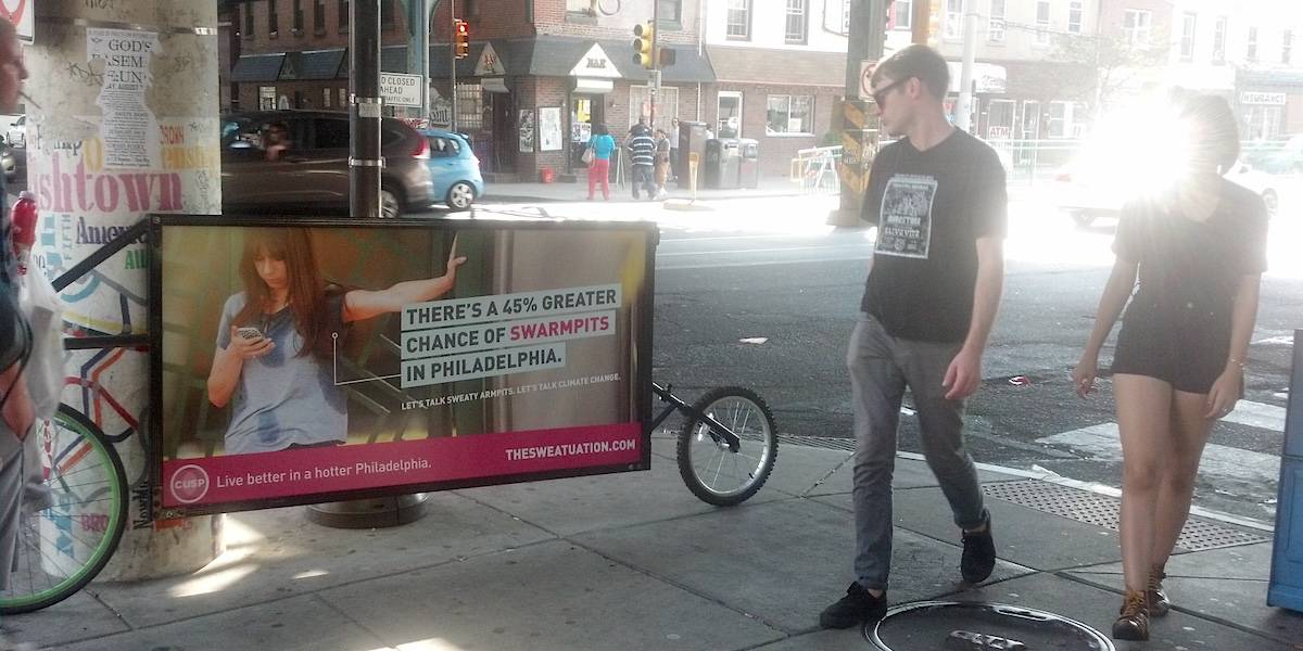Climate Change Guerilla Marketing Bike Billboard Community Marketing - Fishtown, Philadelphia