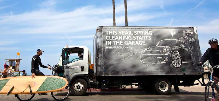 MINI Cooper Reverse-Clean Street Art Mobile Billboard Truck Advertising Example - Venice Beach, CA