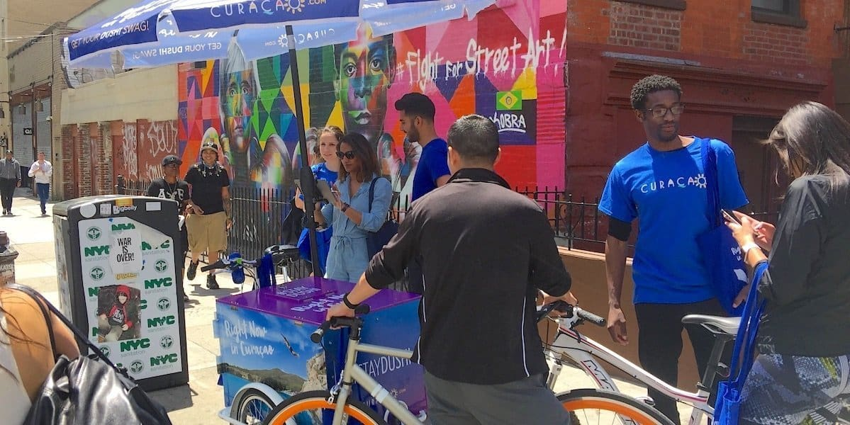 Curacao Island Vacation Tourism Outdoor Street Marketing Activation - Williamsburg, Brooklyn