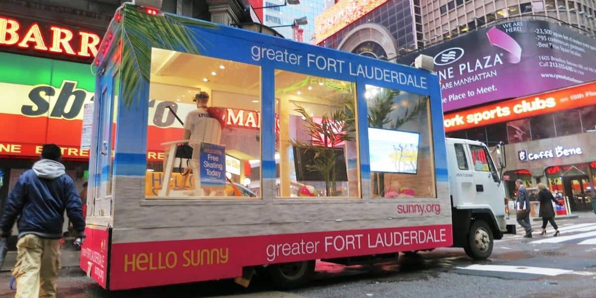Fort Lauderdale Tourism Mobile Marketing Showcase Vehicle - Marketing Vehicle - Times Square, New York City