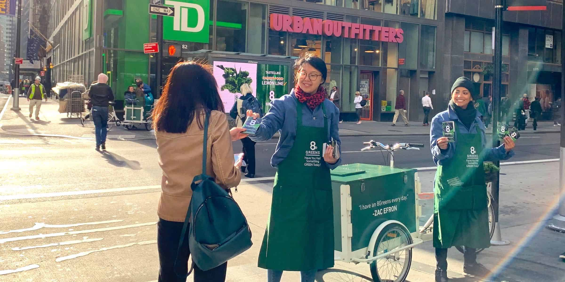 Health Supplement Tablet Product Sampling Marketing Example - Downtown, NYC