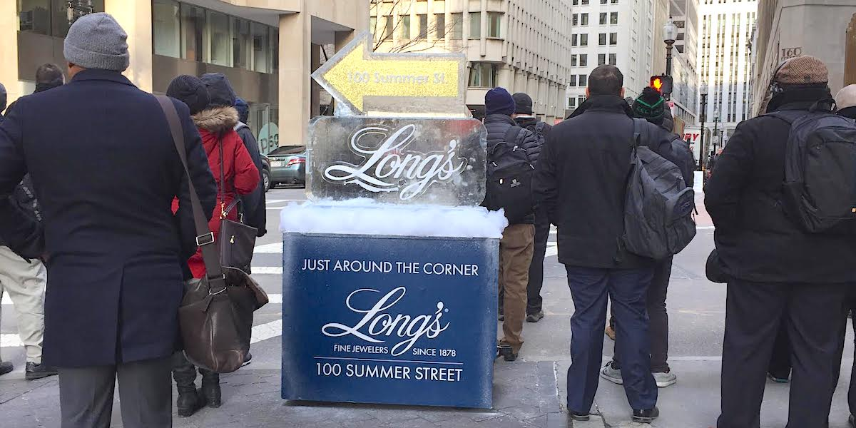 Ice Sculpture Retail Guerilla Marketing Retail Activation Example - Boston