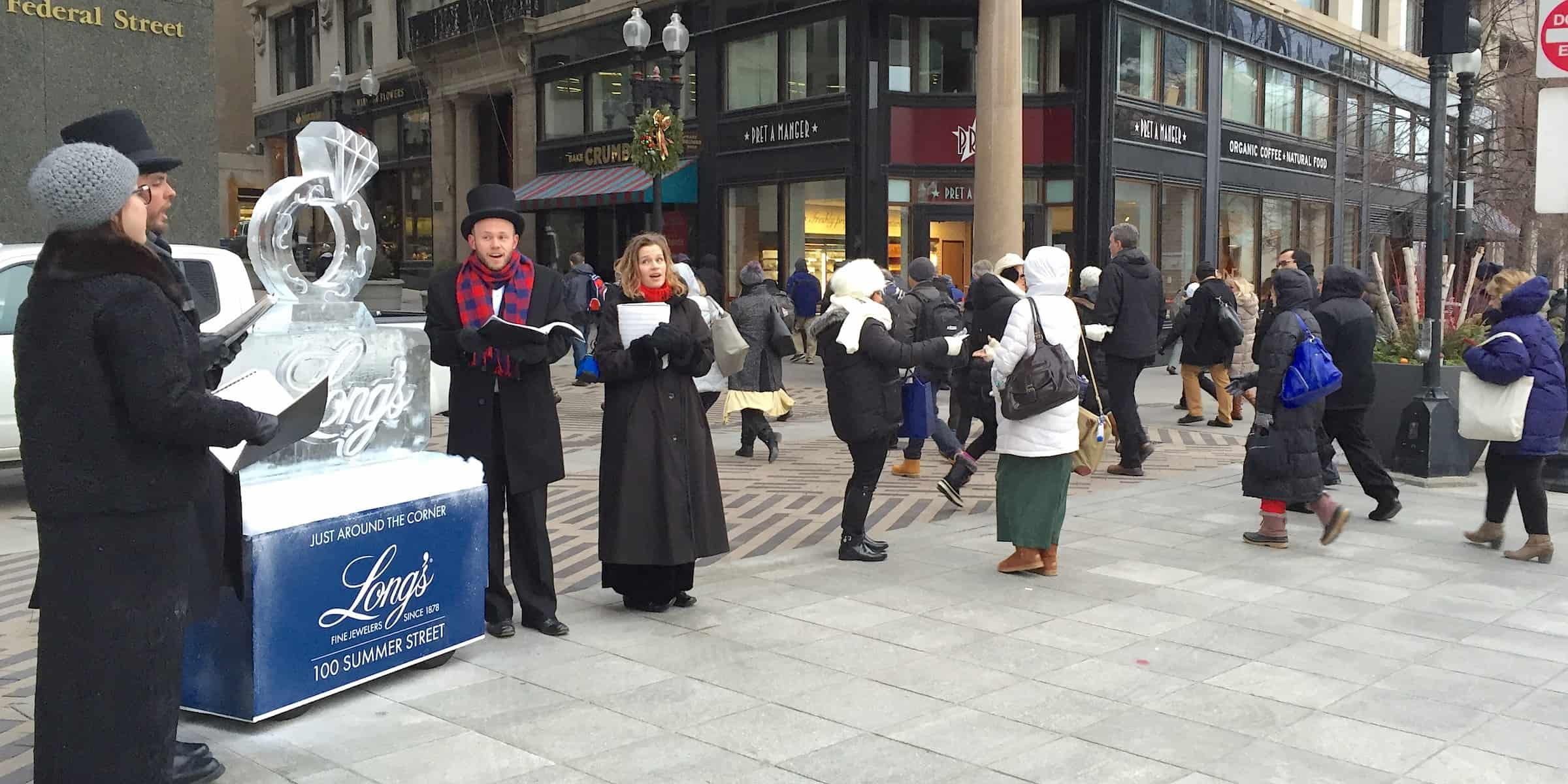Jewelry Holiday Season Carolers Street Strategic Marketing Activation Stunt -South Station, Boston