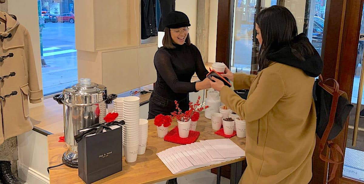 Rag and Bone In-Store Retail Marketing Hot Cider Bar Activation - Downtown, Chicago