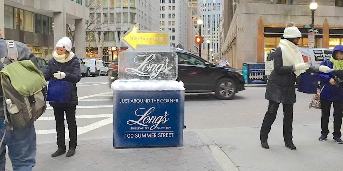 Jewerly Retail Store Street Team Ice Sculpture Guerilla Marketing Activation - Downtown, Boston