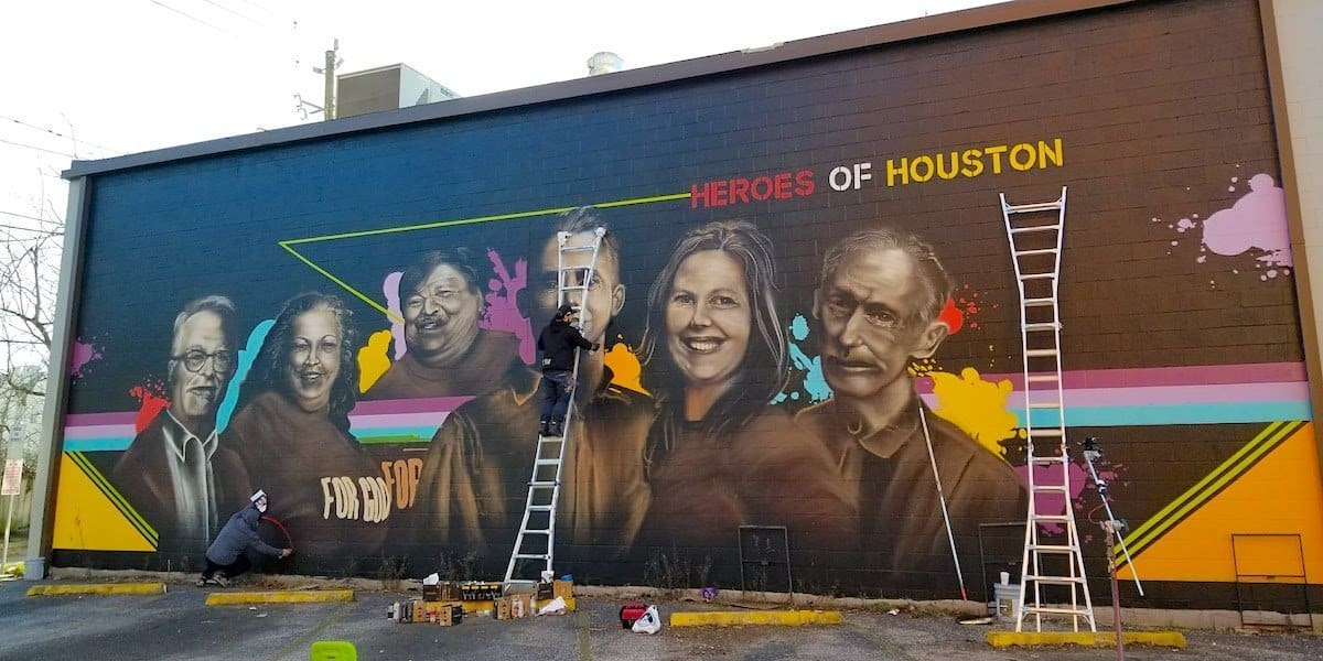 Shell Oil 'Heroes of Houston' Street Art Hurricane Harvey Tribute Mural - The Heights, Houston, TX
