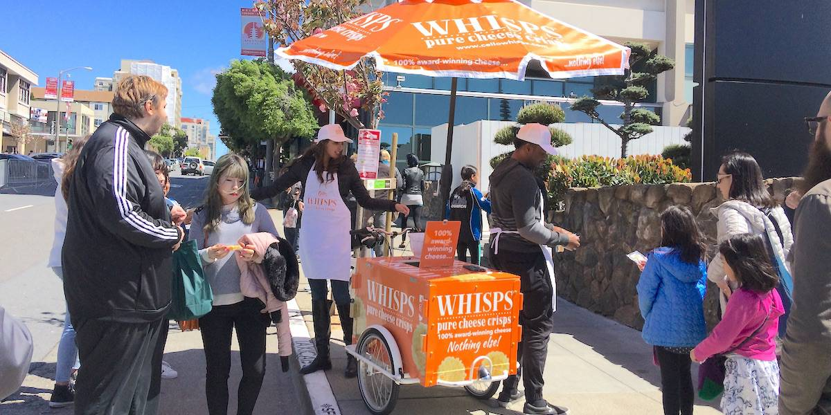 Snack Food Product Sampling Street Cart Marketing Company Example - San Francisco