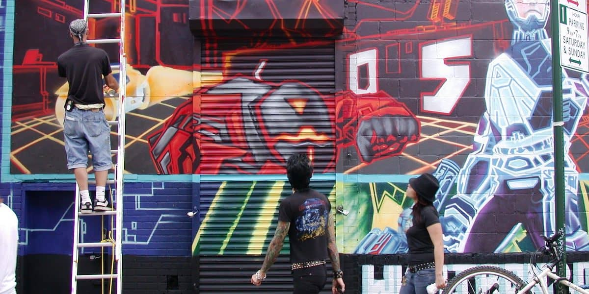 Tron Videogame Street Art Mural - Lower East Side, New York City