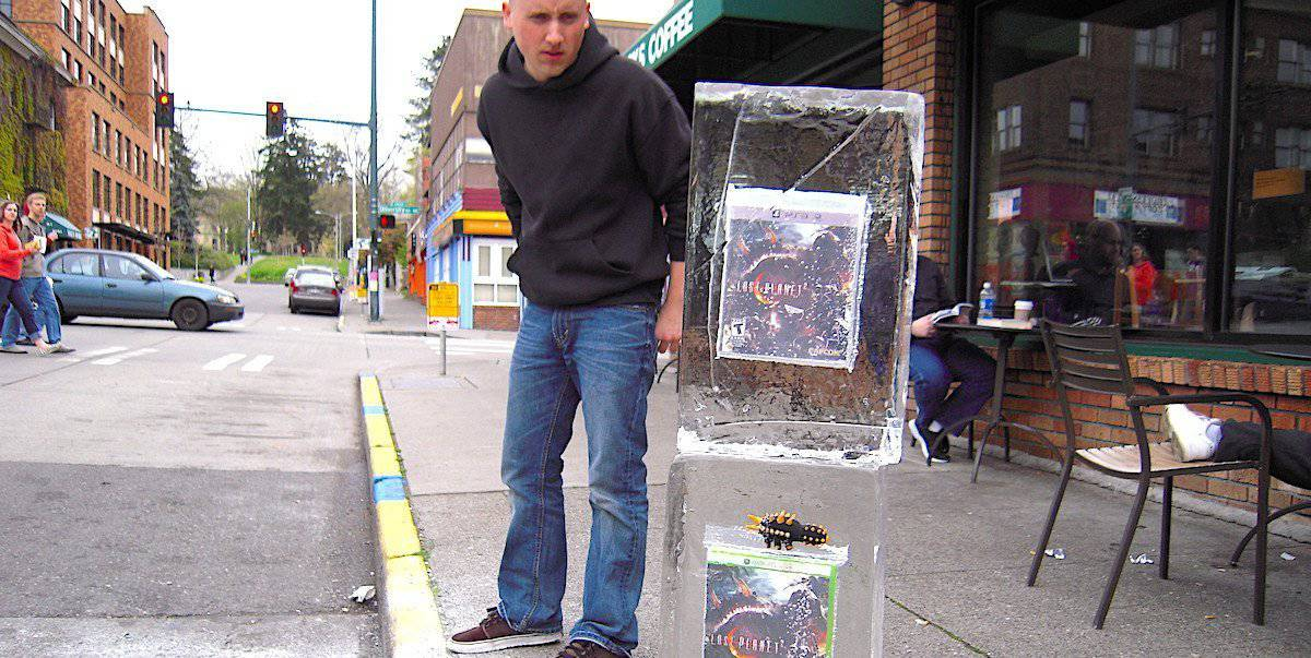 Videogame Release Guerilla Marketing Frozen Ice Blocks Street Activation - Seattle, WA